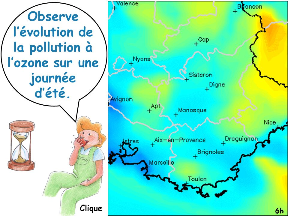 Observe l'évolution de la pollution à l'ozone sur une journée d'été.