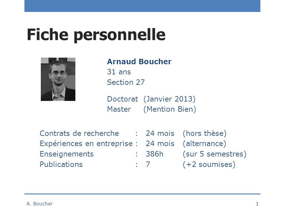 Fiche personnelle Arnaud Boucher 31 ans Section 27