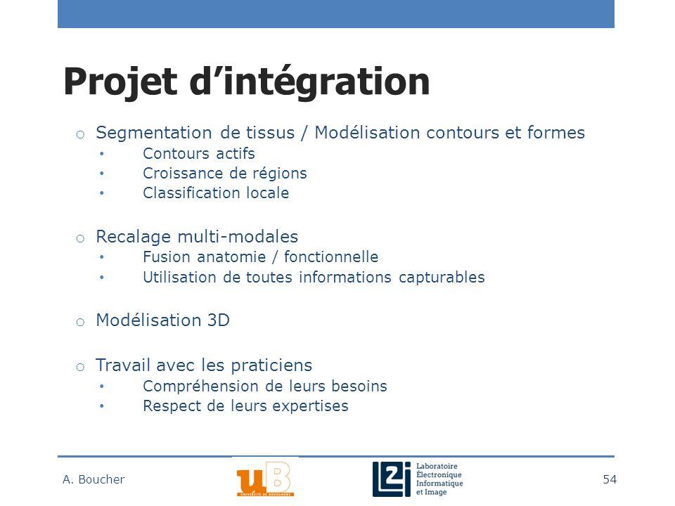 Projet d'intégration Segmentation de tissus / Modélisation contours et formes. Contours actifs. Croissance de régions.