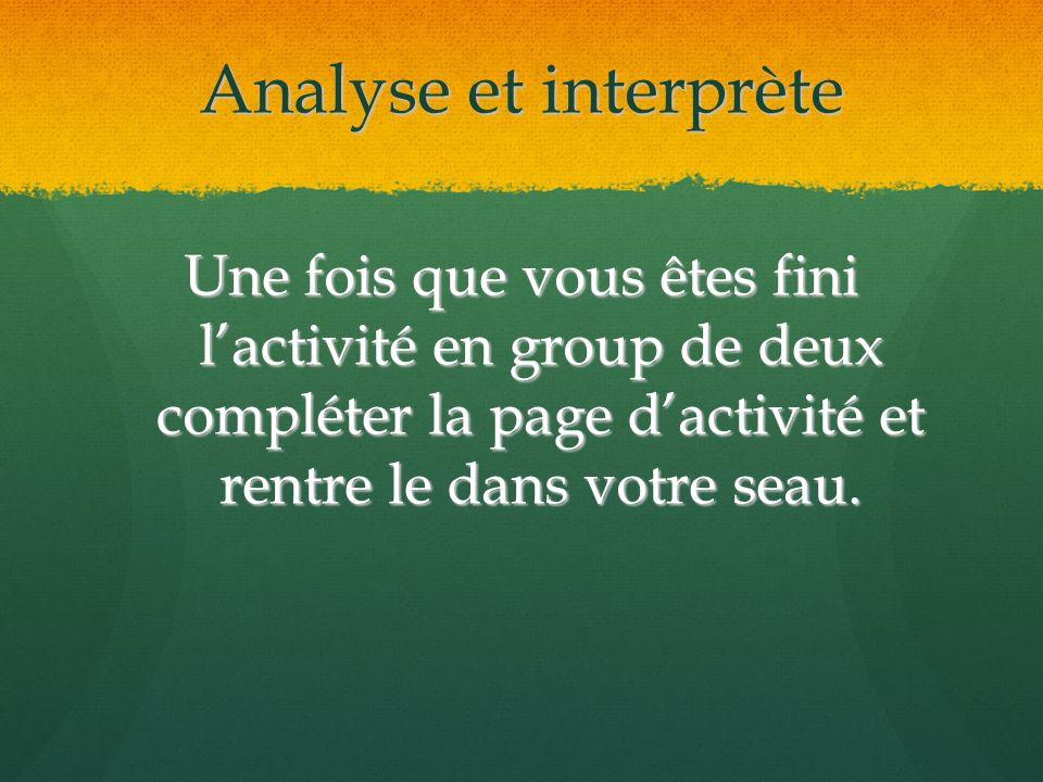 Analyse et interprète Une fois que vous êtes fini l'activité en group de deux compléter la page d'activité et rentre le dans votre seau.