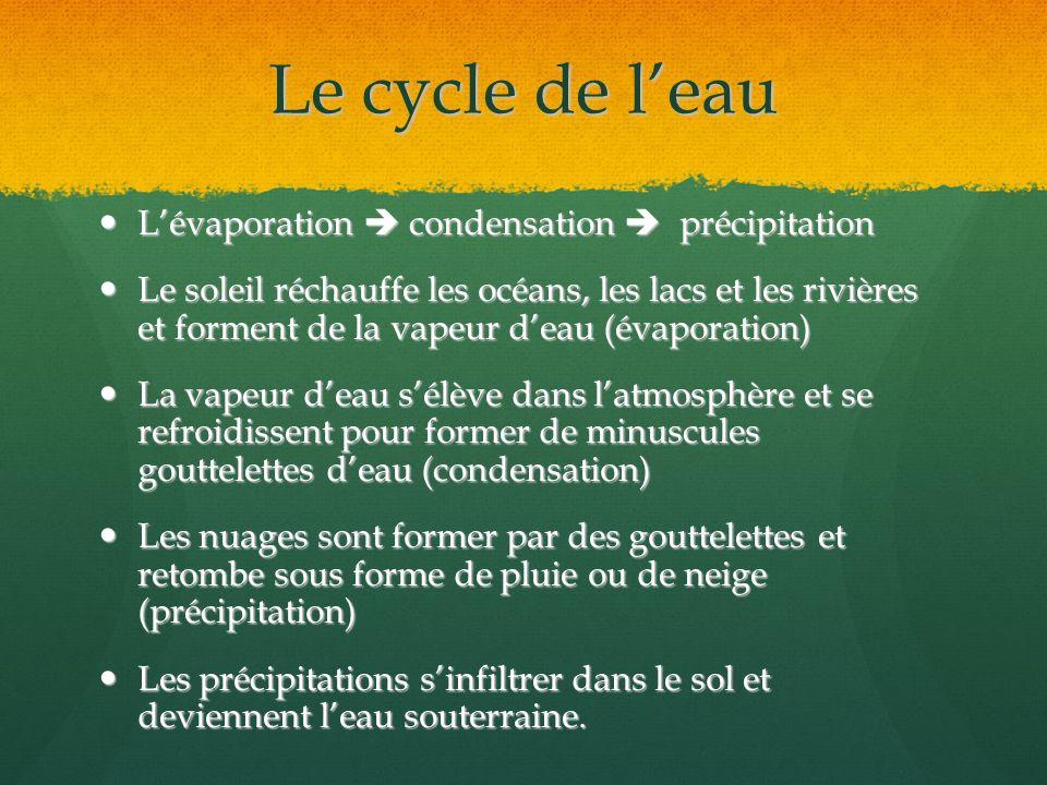 Le cycle de l'eau L'évaporation  condensation  précipitation