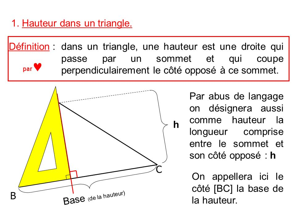 1. Hauteur dans un triangle.