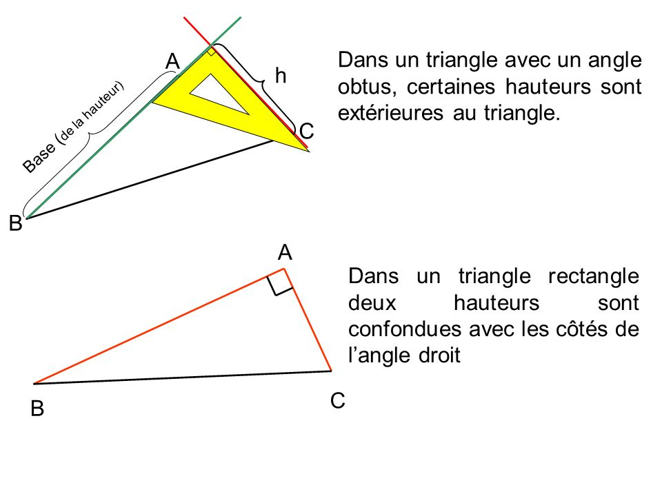 h A. C. B. Dans un triangle avec un angle obtus, certaines hauteurs sont extérieures au triangle.