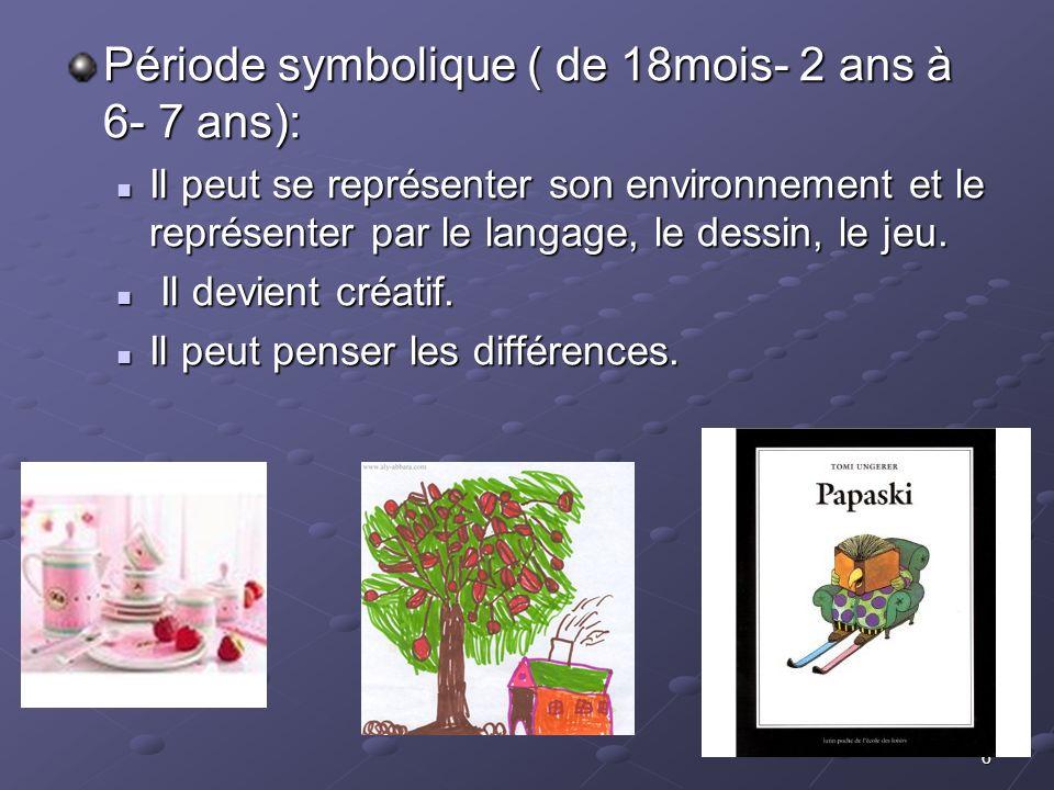 Période symbolique ( de 18mois- 2 ans à 6- 7 ans):