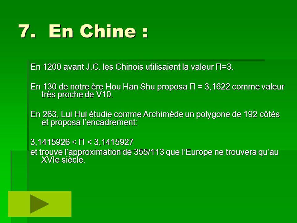 7. En Chine : En 1200 avant J.C. les Chinois utilisaient la valeur Π=3.