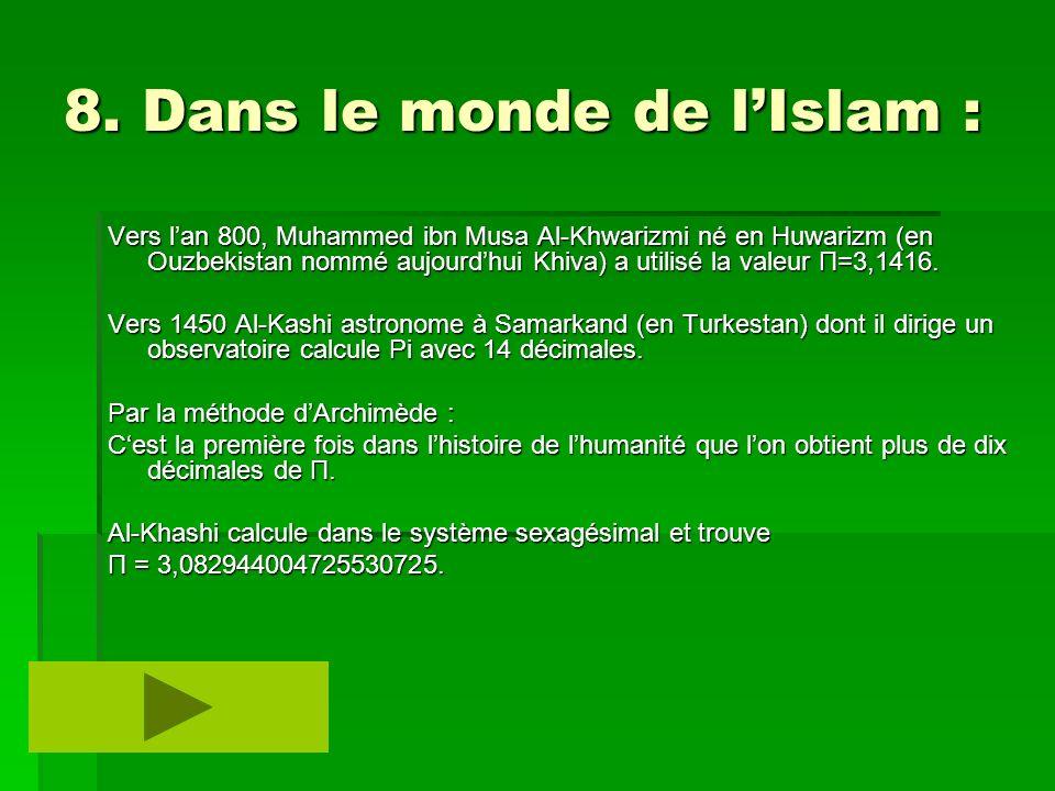 8. Dans le monde de l'Islam :