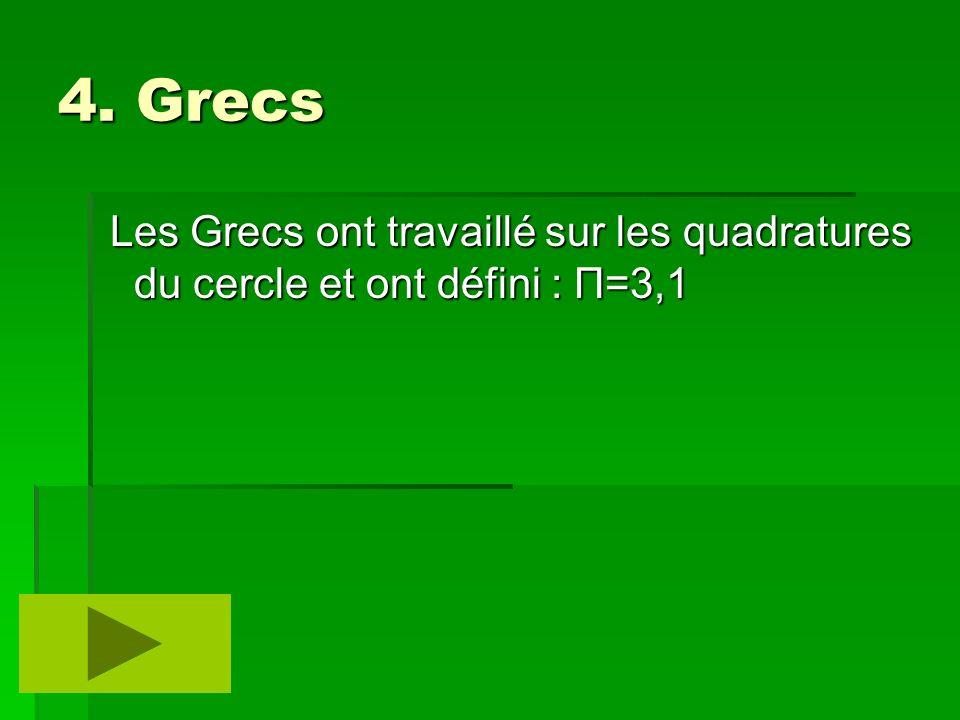 4. Grecs Les Grecs ont travaillé sur les quadratures du cercle et ont défini : Π=3,1