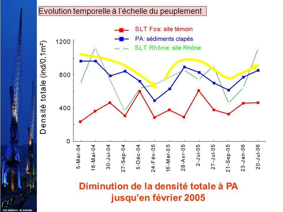 Diminution de la densité totale à PA jusqu'en février 2005