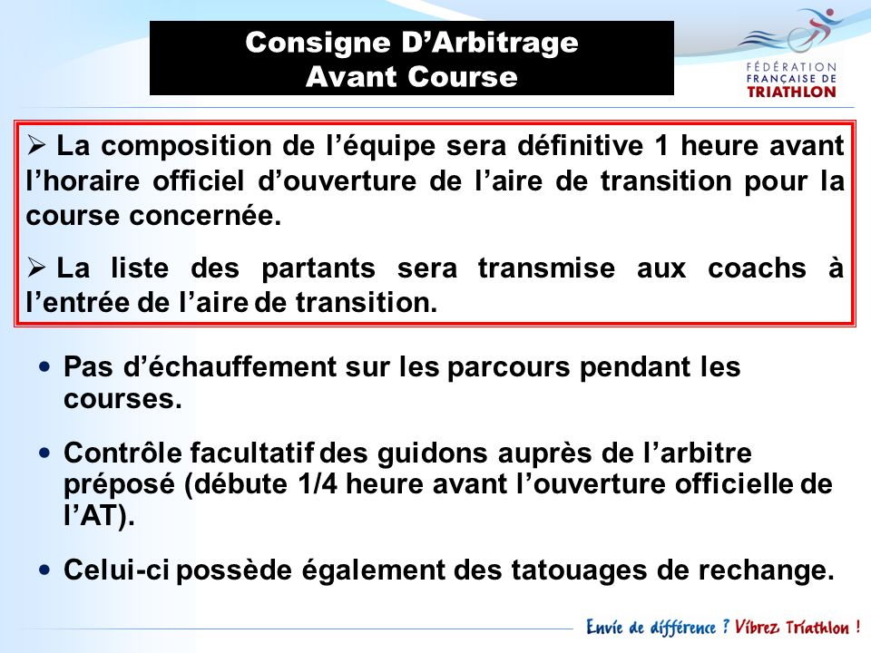 Consigne D'Arbitrage Avant Course.