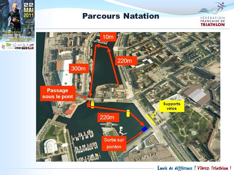 Parcours Natation 10m 220m 300m 220m Passage sous le pont