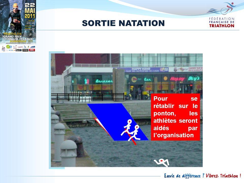 SORTIE NATATION Pour se rétablir sur le ponton, les athlètes seront aidés par l'organisation