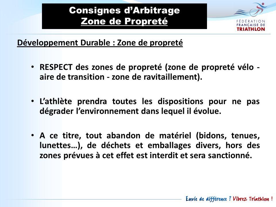 Consignes d'Arbitrage Zone de Propreté