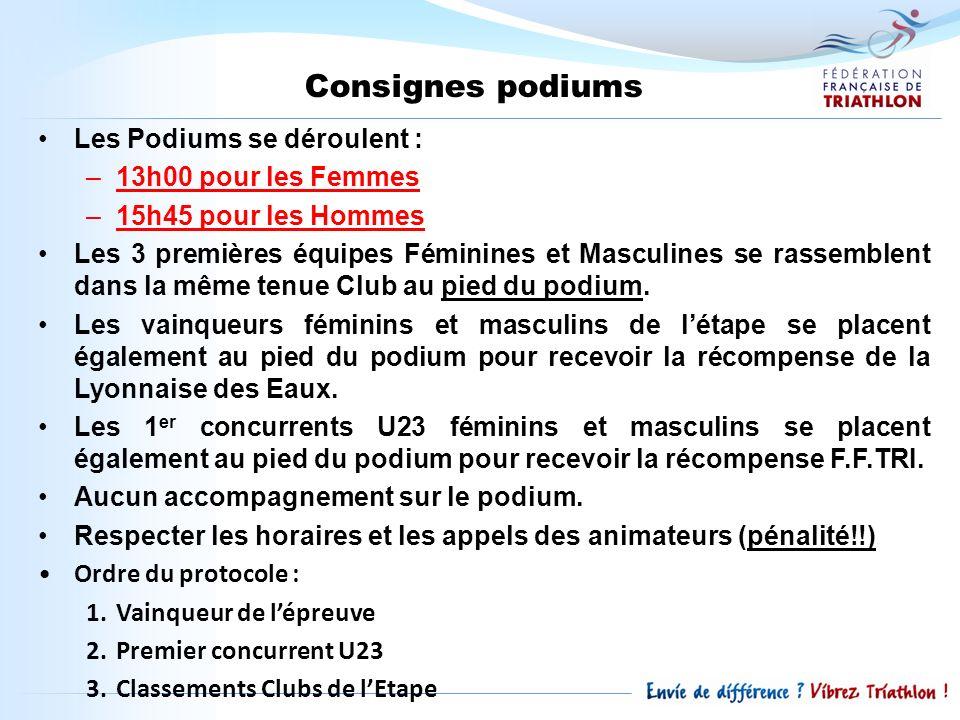 Consignes podiums Les Podiums se déroulent : 13h00 pour les Femmes
