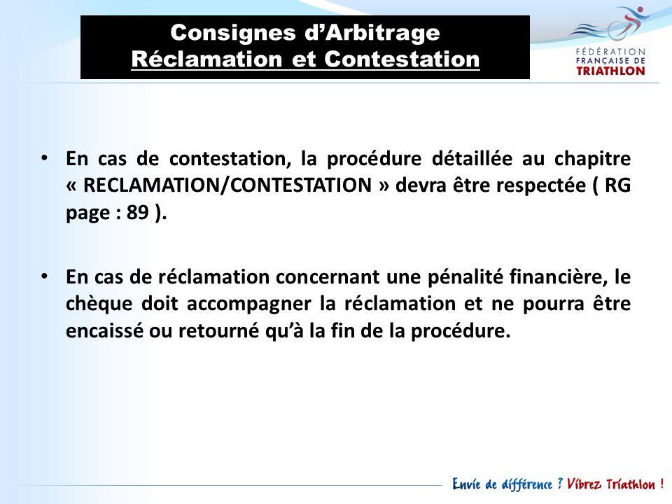 Consignes d'Arbitrage Réclamation et Contestation