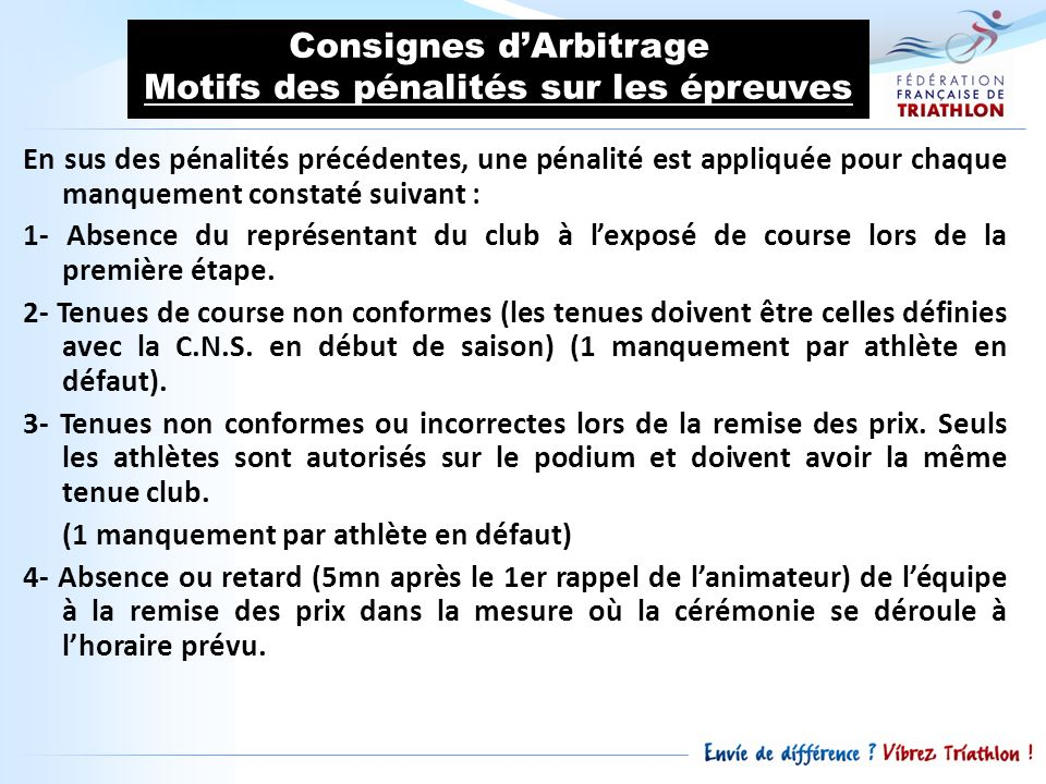 Consignes d'Arbitrage Motifs des pénalités sur les épreuves