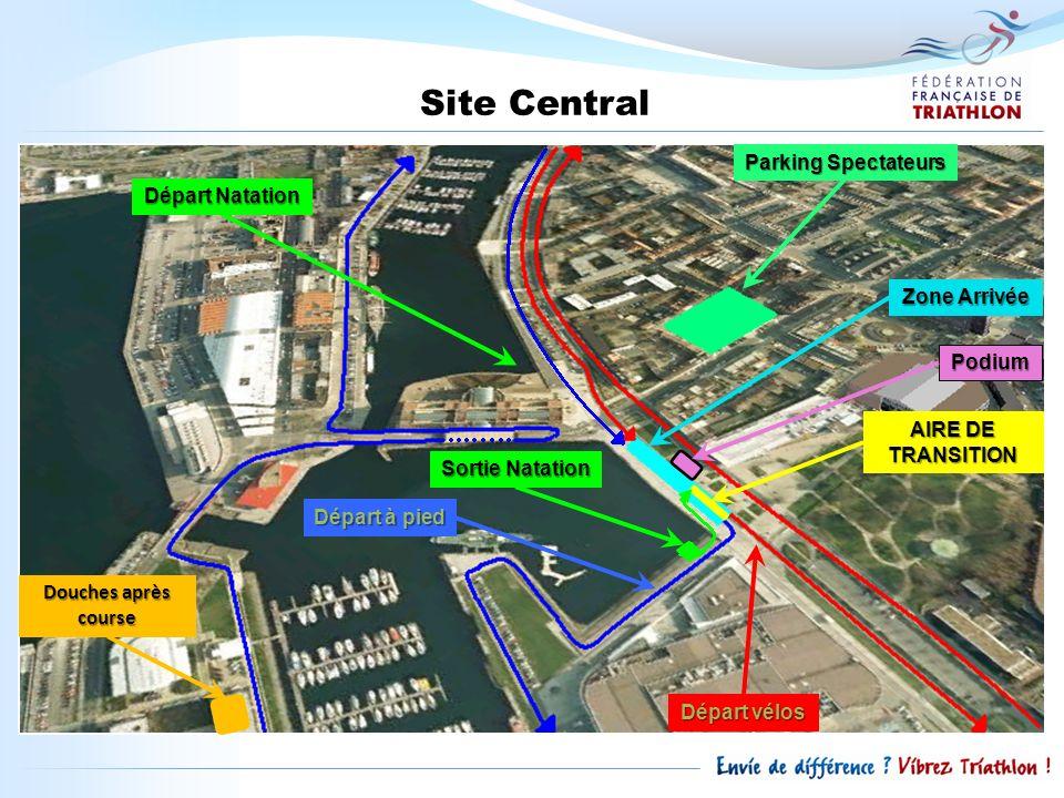 Site Central Parking Spectateurs Départ Natation Zone Arrivée Podium