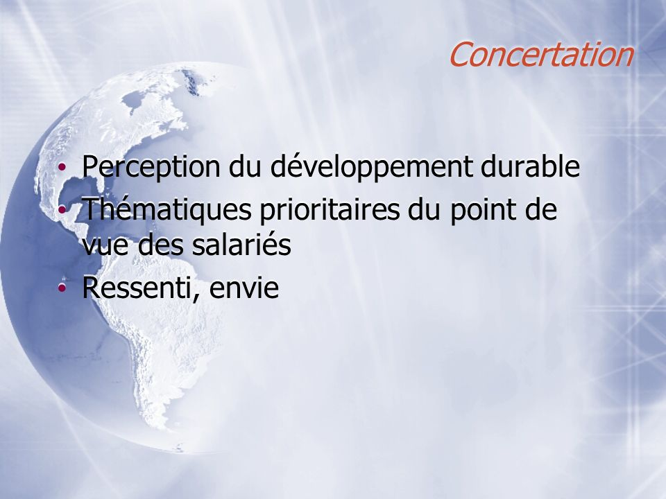 Concertation Perception du développement durable