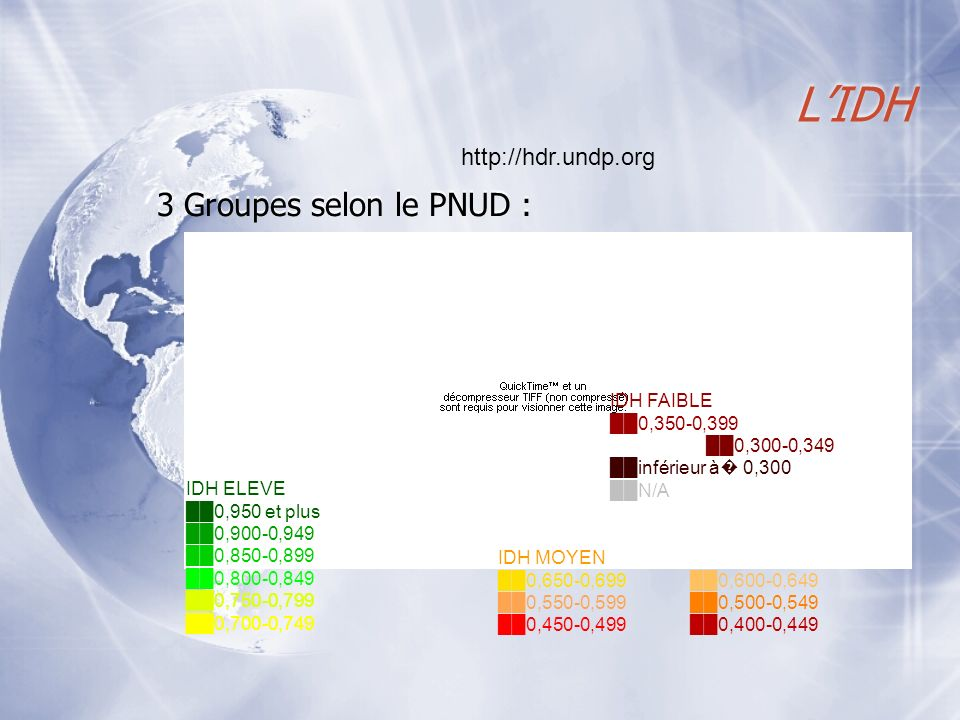L'IDH 3 Groupes selon le PNUD : http://hdr.undp.org IDH FAIBLE