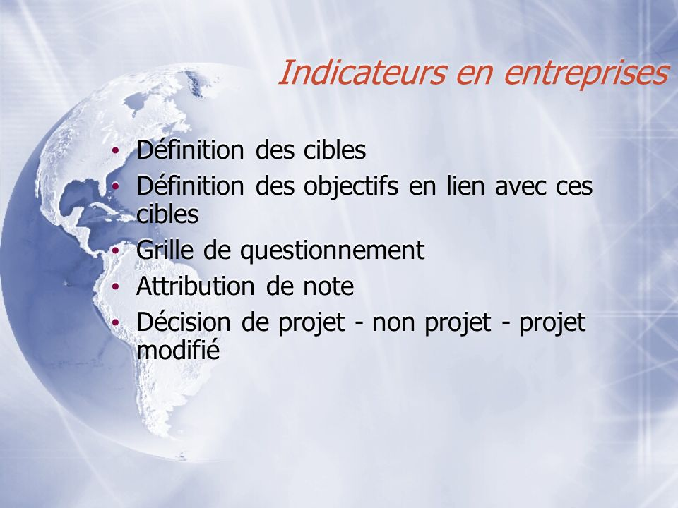Indicateurs en entreprises