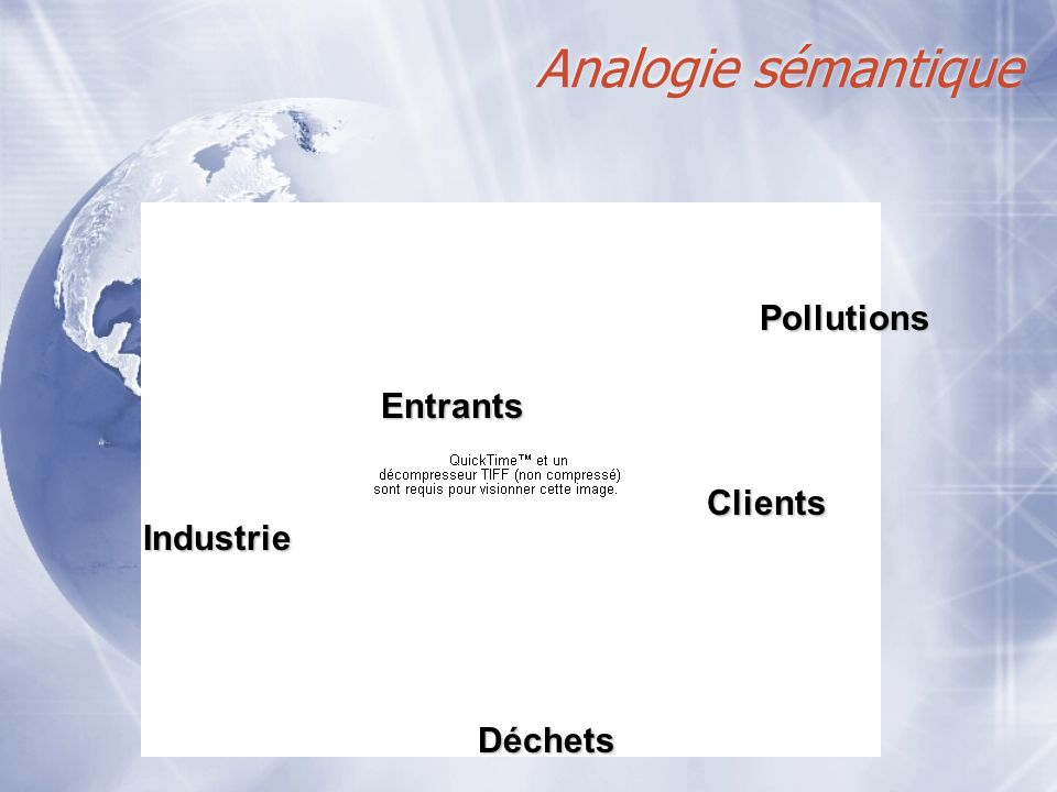 Analogie sémantique Pollutions Entrants Clients Industrie Déchets