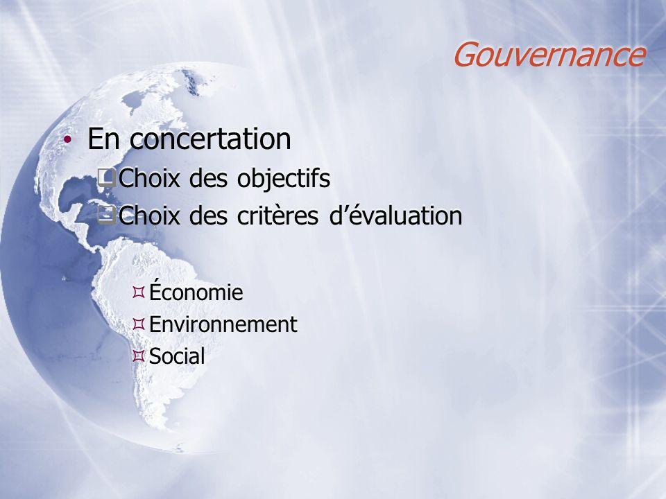 Gouvernance En concertation Choix des objectifs