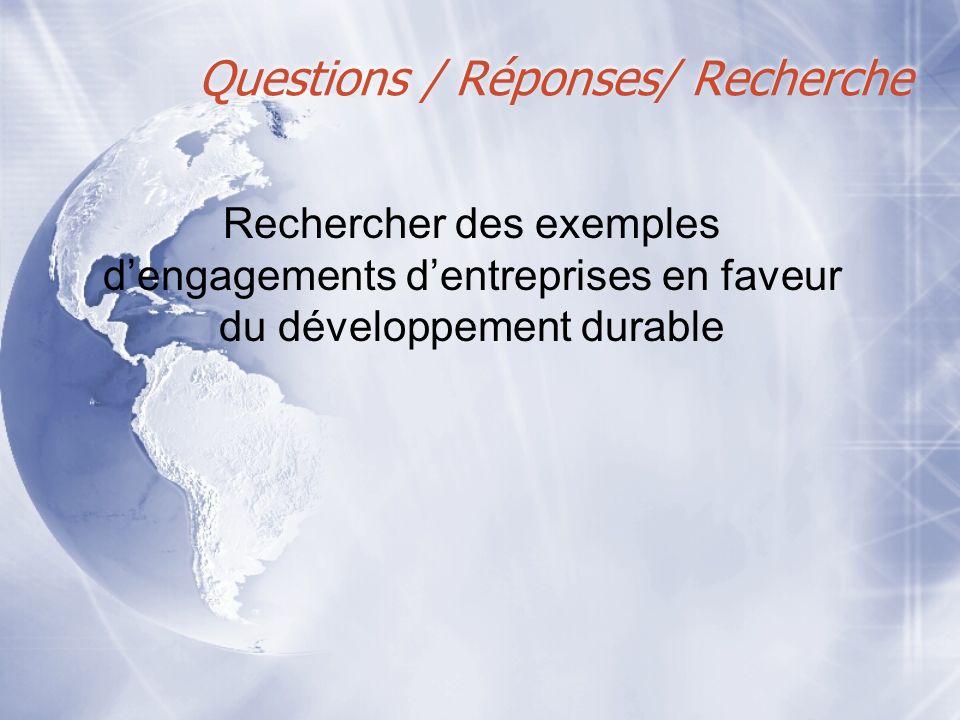 Questions / Réponses/ Recherche