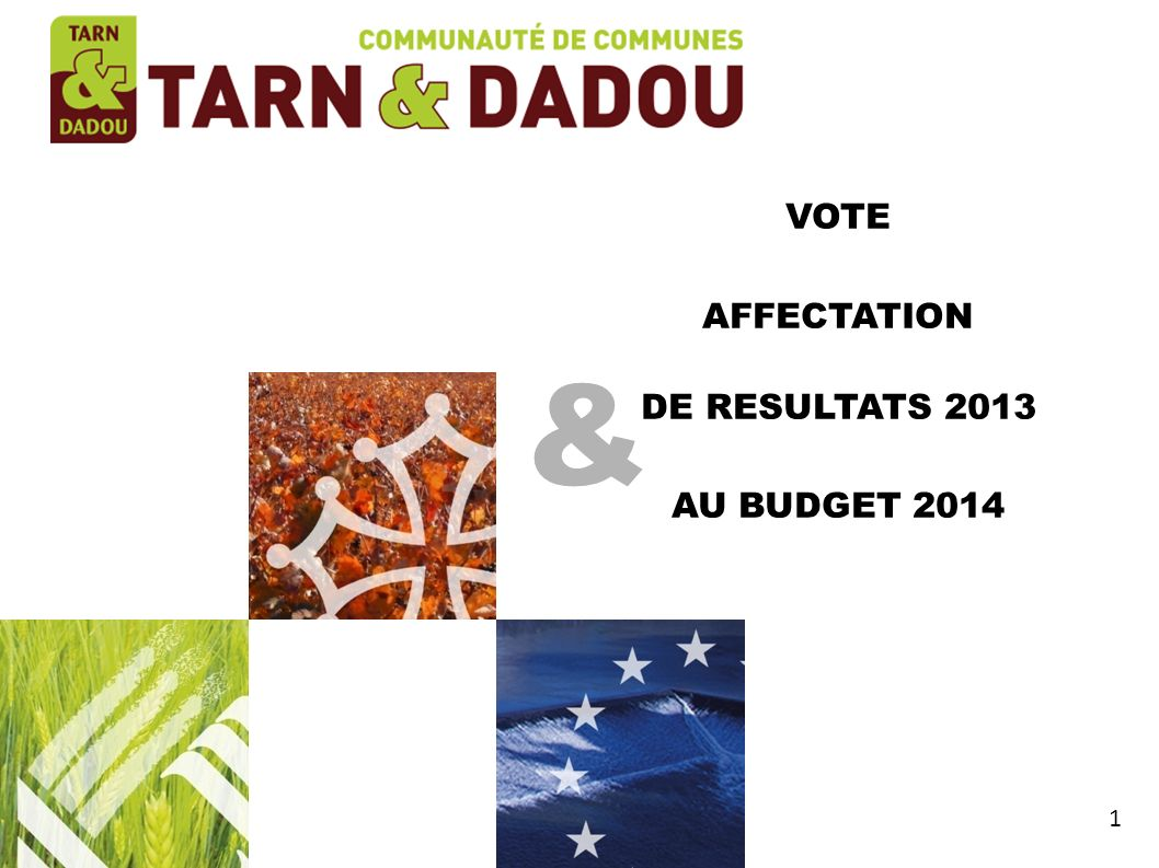 VOTE AFFECTATION DE RESULTATS 2013 AU BUDGET 2014 & 1 1 1 1