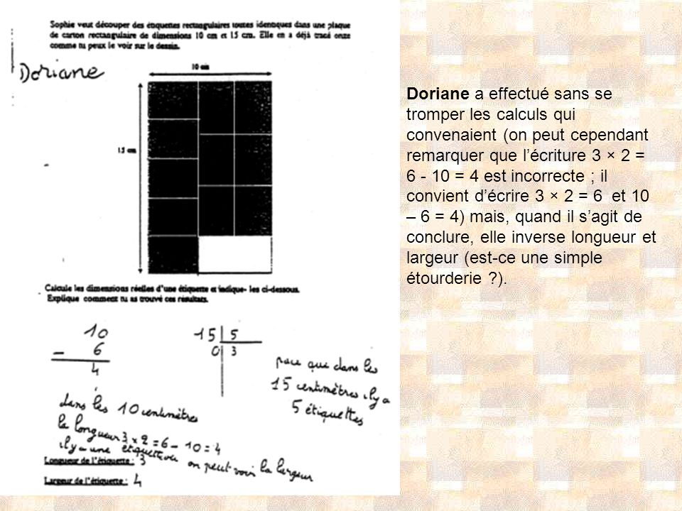 Doriane a effectué sans se tromper les calculs qui convenaient (on peut cependant remarquer que l'écriture 3 × 2 = 6 - 10 = 4 est incorrecte ; il convient d'écrire 3 × 2 = 6 et 10 – 6 = 4) mais, quand il s'agit de conclure, elle inverse longueur et largeur (est-ce une simple étourderie ).