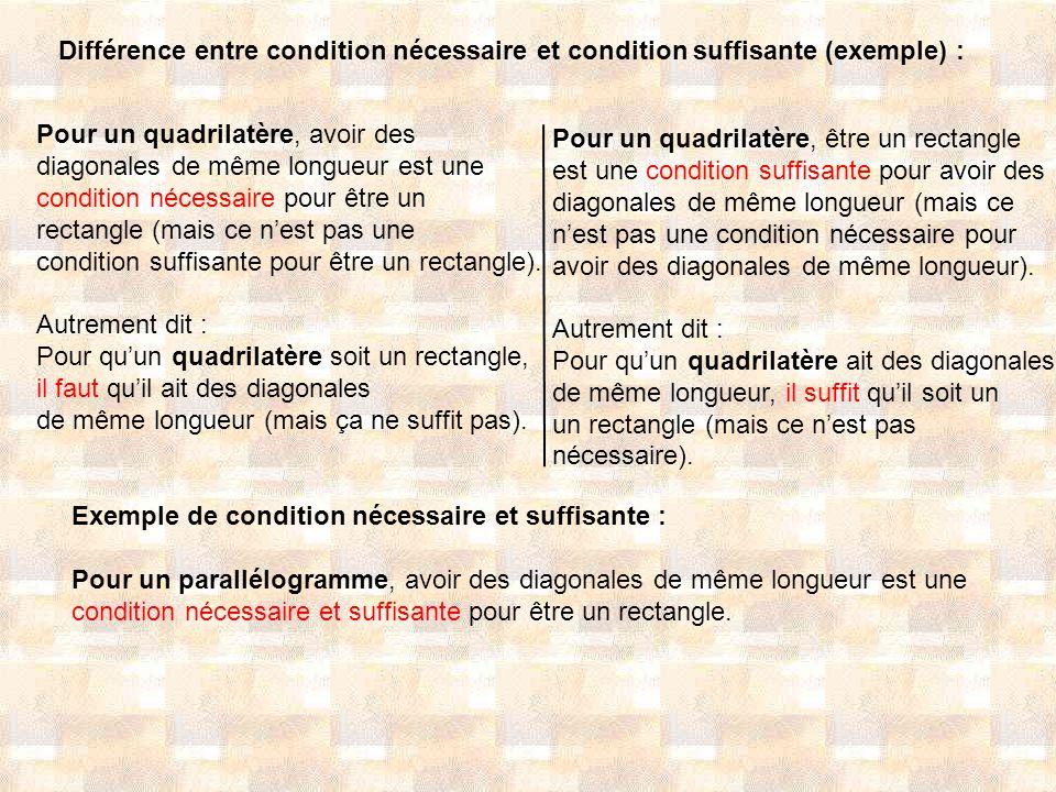Différence entre condition nécessaire et condition suffisante (exemple) :