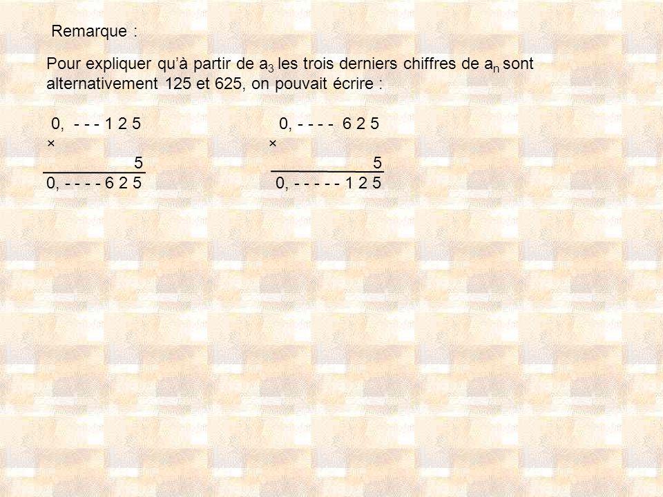 Remarque : Pour expliquer qu'à partir de a3 les trois derniers chiffres de an sont alternativement 125 et 625, on pouvait écrire :