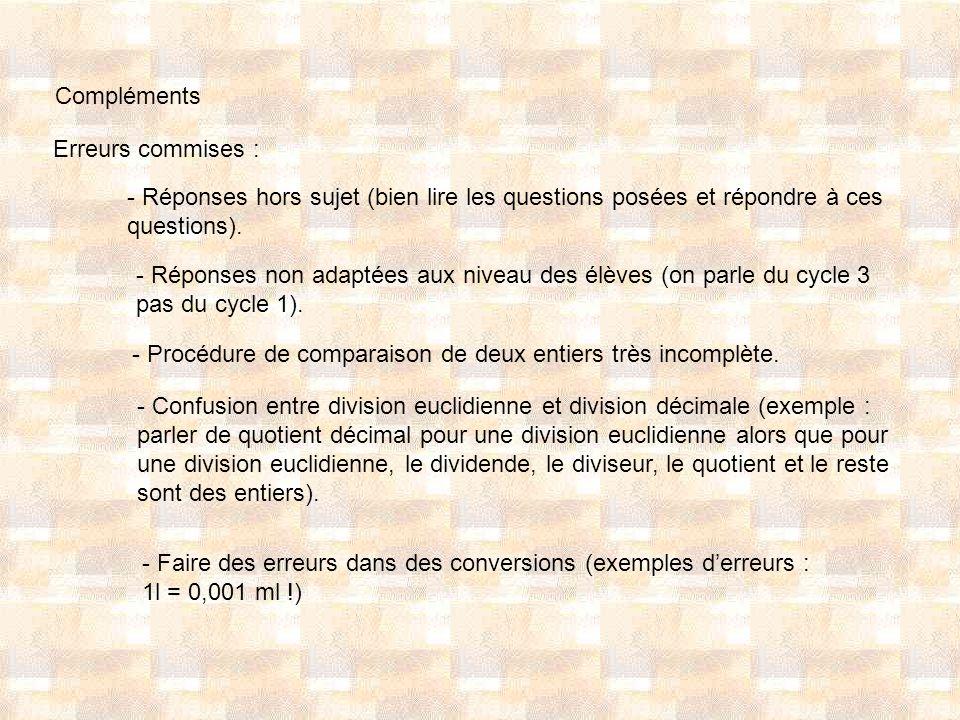 Compléments Erreurs commises : - Réponses hors sujet (bien lire les questions posées et répondre à ces questions).