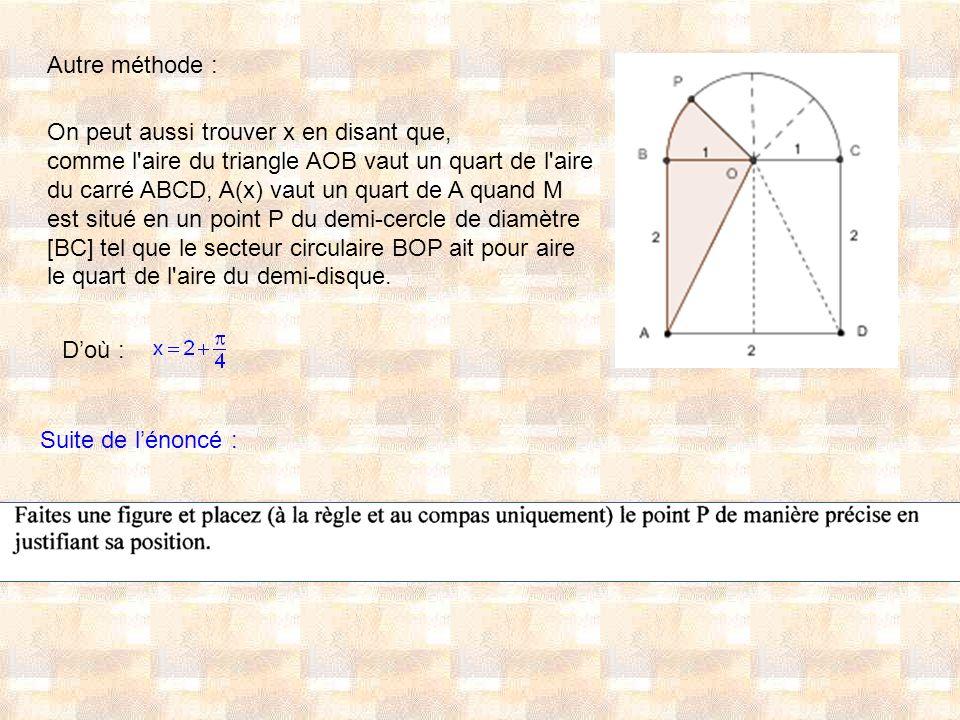 Autre méthode : On peut aussi trouver x en disant que, comme l aire du triangle AOB vaut un quart de l aire.