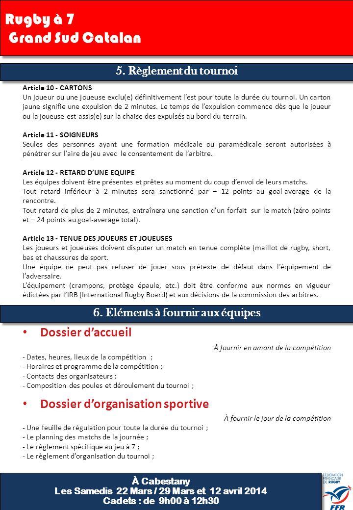 5. Règlement du tournoi Rugby à 7 Grand Sud Catalan Dossier d'accueil