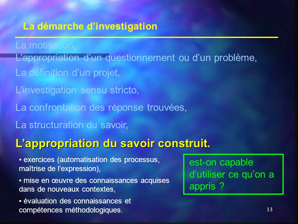 L'appropriation du savoir construit.