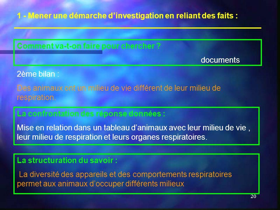 1 - Mener une démarche d'investigation en reliant des faits :