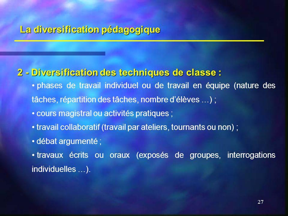 La diversification pédagogique
