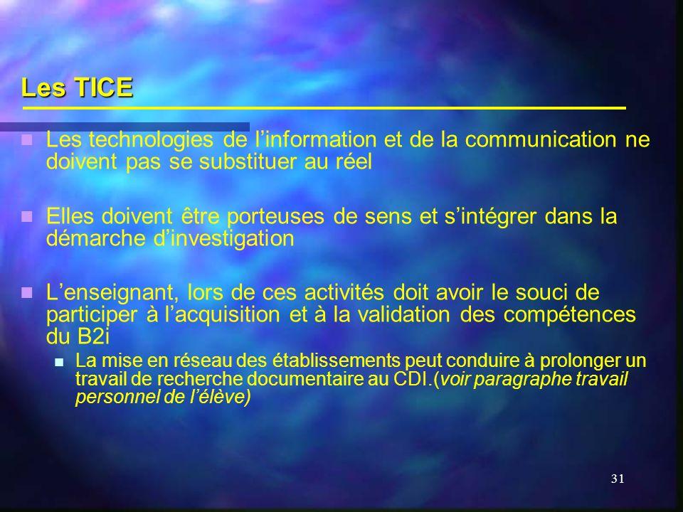 Les TICE Les technologies de l'information et de la communication ne doivent pas se substituer au réel.