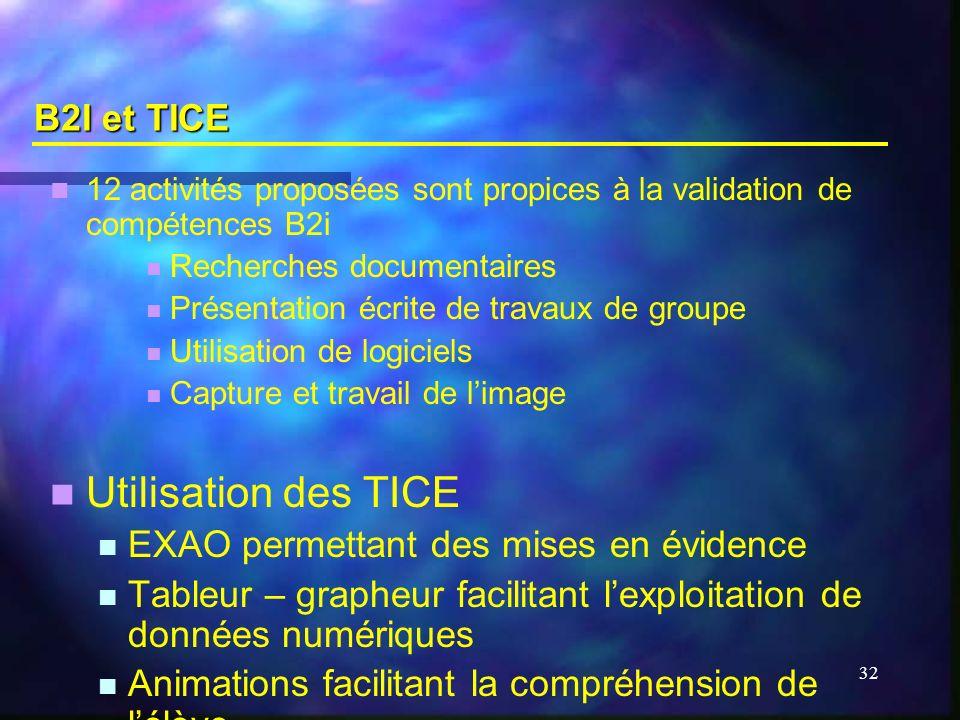 B2I et TICE 12 activités proposées sont propices à la validation de compétences B2i. Recherches documentaires.