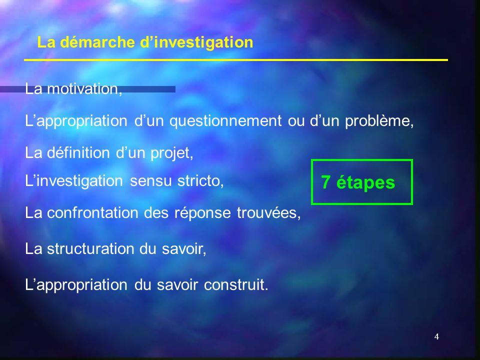 7 étapes La démarche d'investigation La motivation,