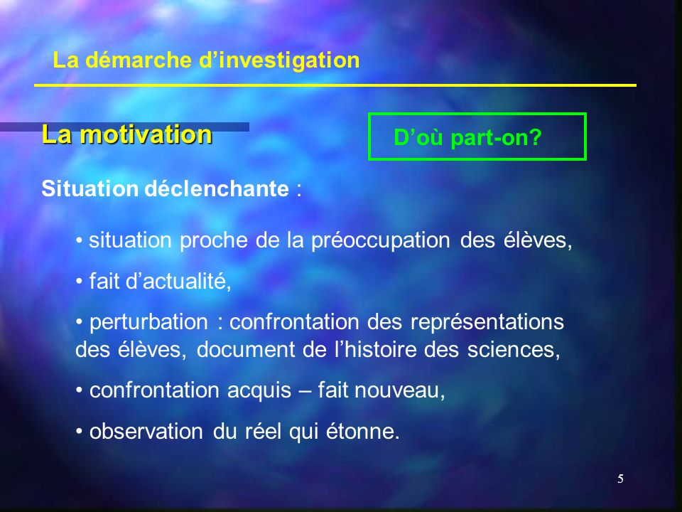 La motivation La démarche d'investigation D'où part-on