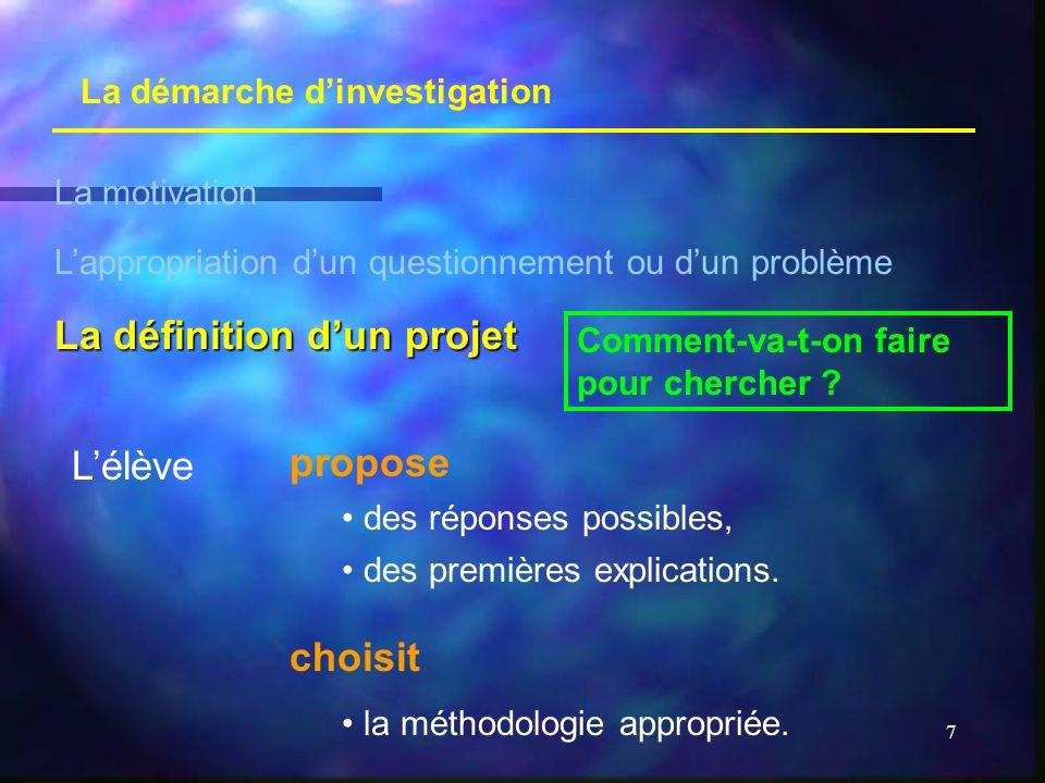 La définition d'un projet