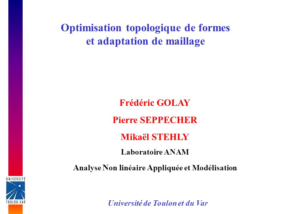 Optimisation topologique de formes et adaptation de maillage