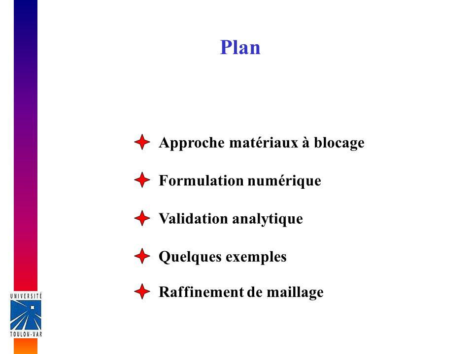 Plan Approche matériaux à blocage Formulation numérique