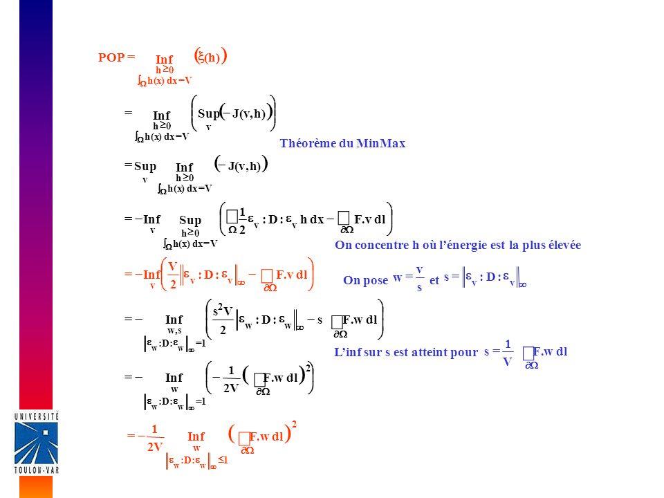 ò ò ò ò ò ( ) ( ) ( ) ( ) ( ) h Inf POP = ÷ ø ö ç è æ - = h , v J Sup