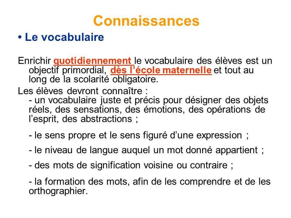 Connaissances • Le vocabulaire