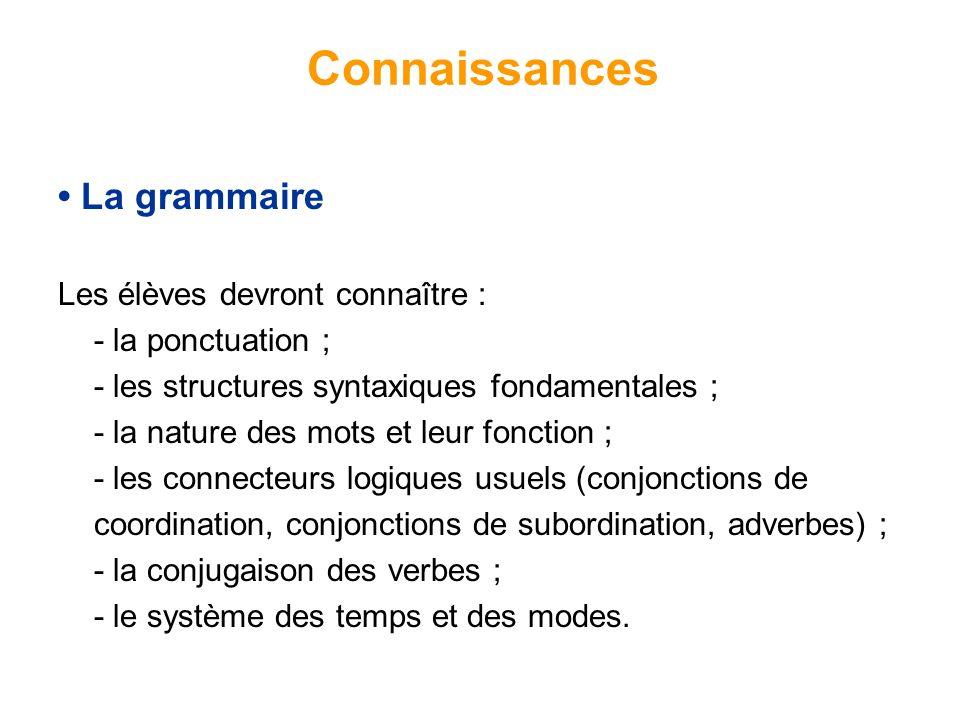 Connaissances • La grammaire