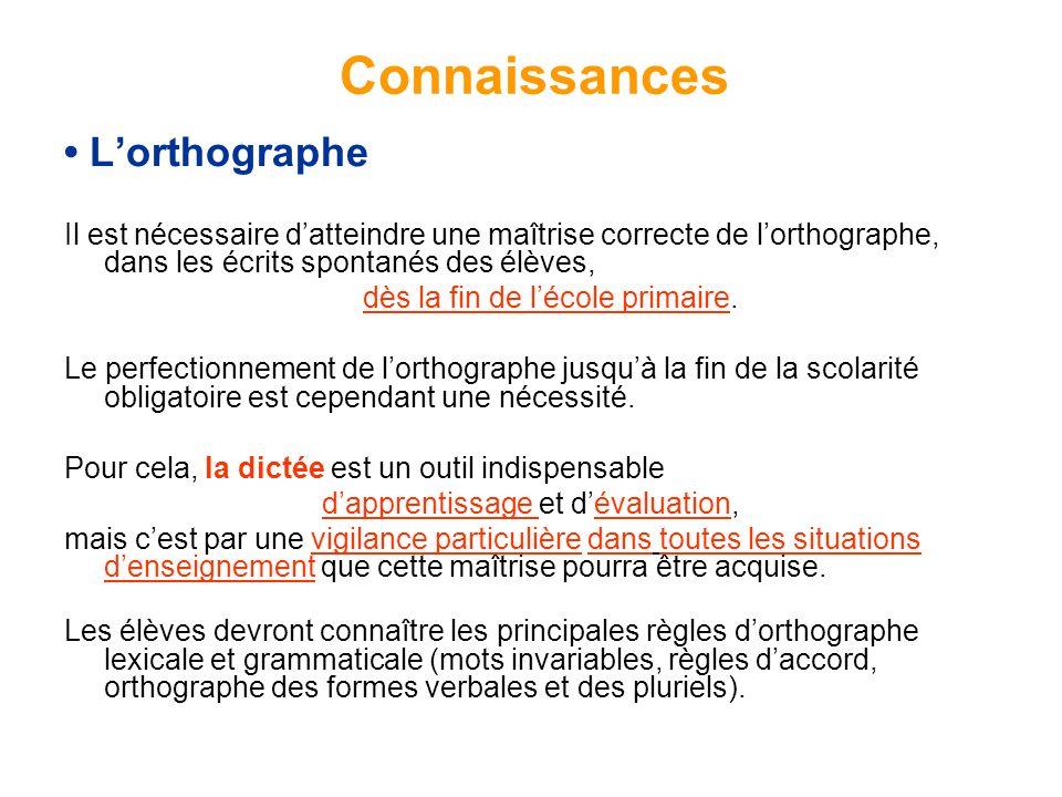 Connaissances • L'orthographe