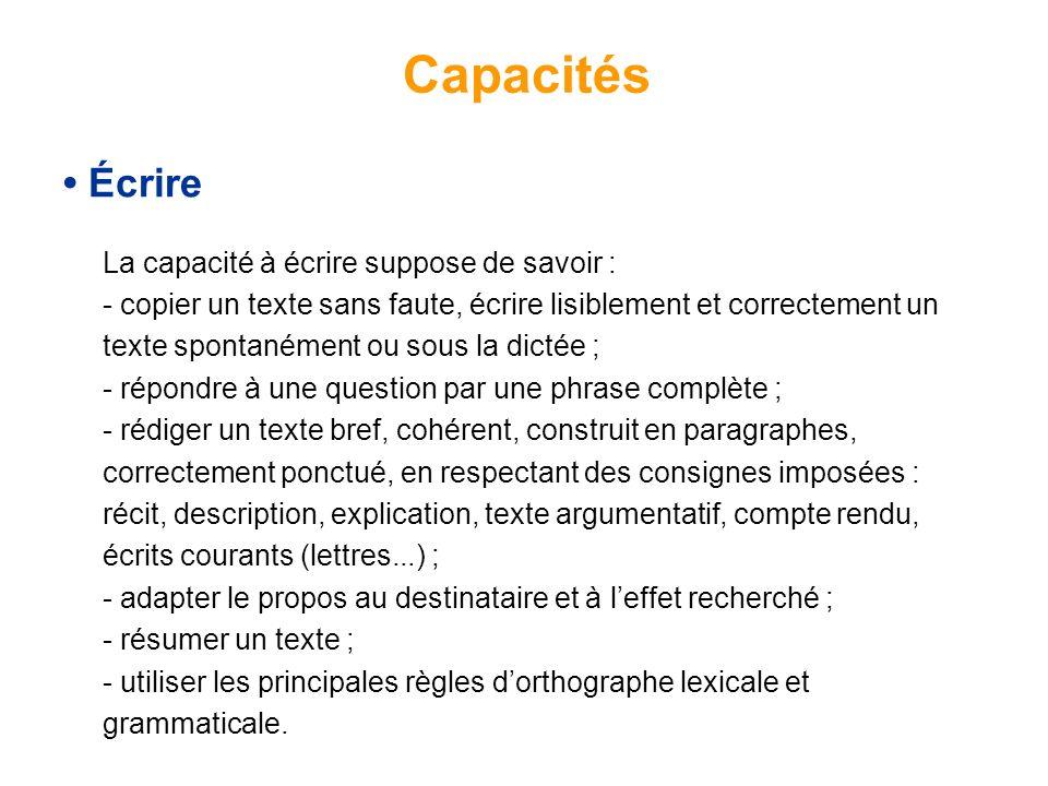 Capacités • Écrire.