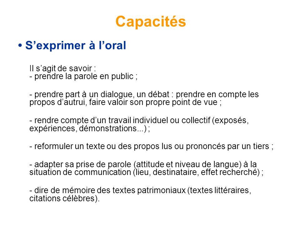 Capacités • S'exprimer à l'oral
