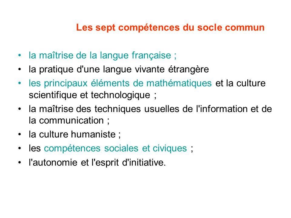 Les sept compétences du socle commun